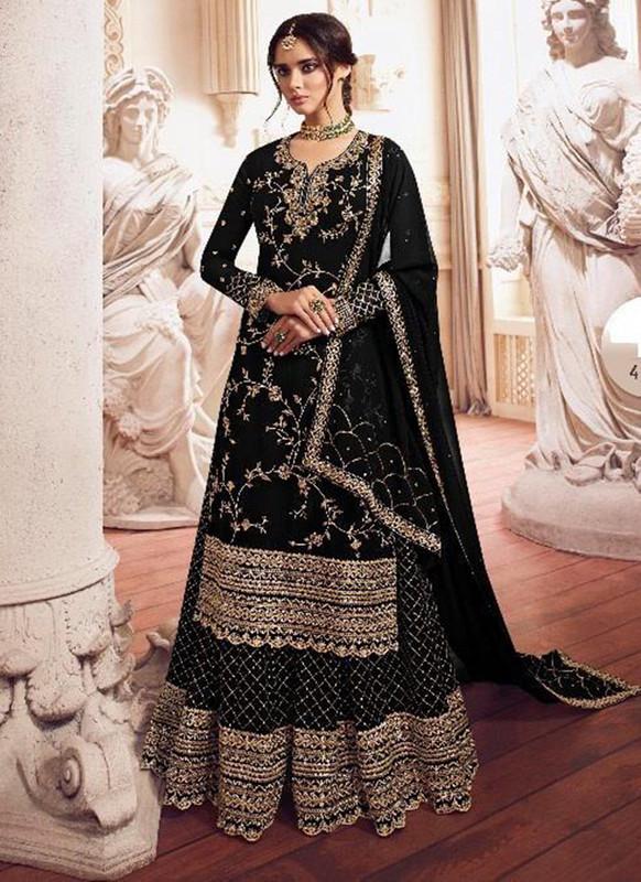 Sareetag Black  Designer Party Wear Georgette Embroidred Suit