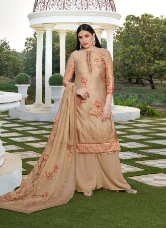 Sareetag Cream  Designer Party Wear Jam Silk Cotton Plazzo Suit