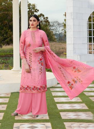 Sareetag Light Pink  Designer Party Wear Jam Silk Cotton Plazzo Suit