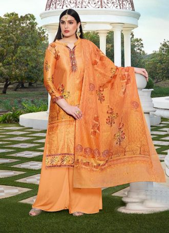 Sareetag Orange  Designer Party Wear Jam Silk Cotton Plazzo Suit