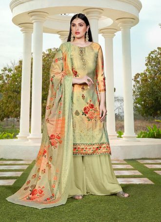 Sareetag Pista Green  Designer Party Wear Jam Silk Cotton Plazzo Suit