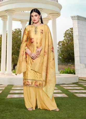 Sareetag Yellow  Designer Party Wear Jam Silk Cotton Plazzo Suit