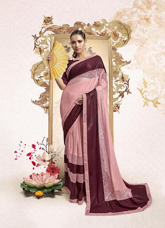 Sareetag Pink  Designer Party Wear Lucra Embellished Saree