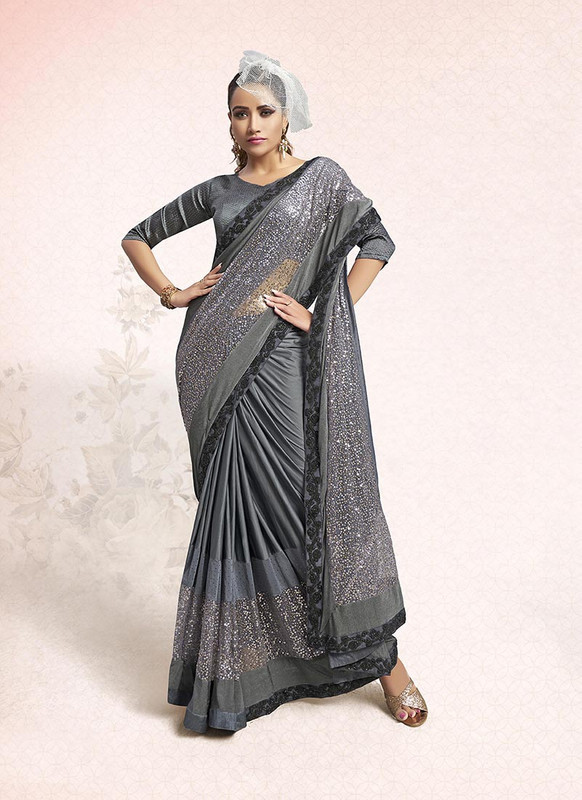 Sareetag Grey  Designer Party Wear Lucra Embellished Saree