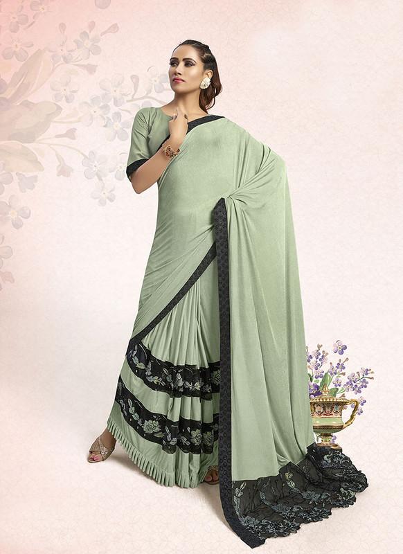 Sareetag Green  Designer Party Wear Lucra Embellished Saree