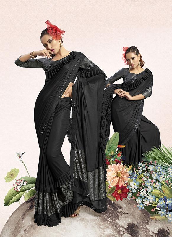 Sareetag Black  Designer Party Wear Lucra Embellished Saree