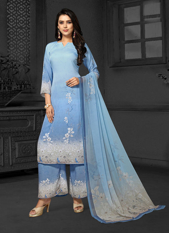 Sareetag Sky Blue  Designer Party Wear Salwar Suit
