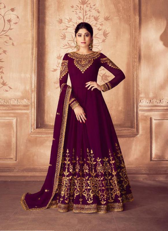 Sareetag Violet  Designer Bridal Wear Real Georgette Aanarkali Suit