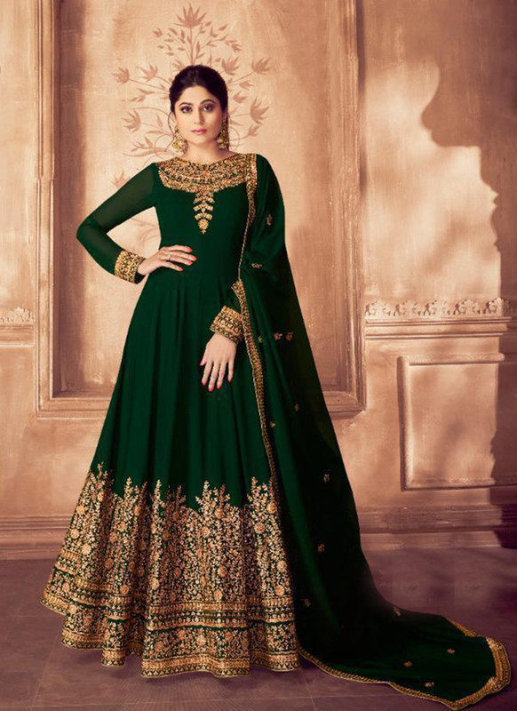 Sareetag Green  Designer Bridal Wear Real Georgette Aanarkali Suit