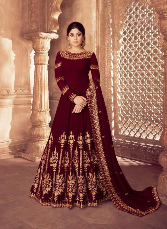 Sareetag Maroon  Designer Bridal Wear Real Georgette Aanarkali Suit