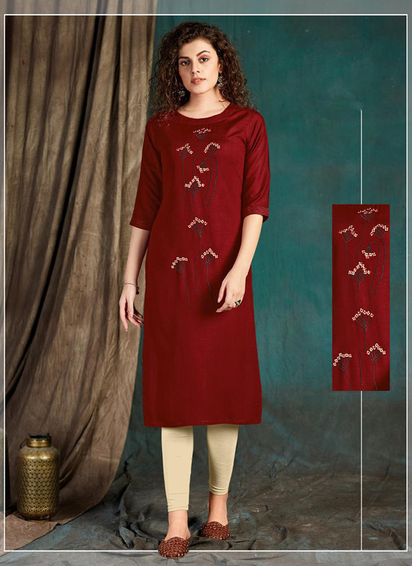 Sareetag maroon  Designer Party Wear Readymade Kurti