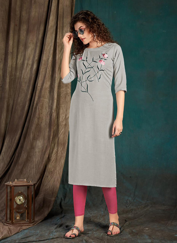 Sareetag Light grey  Designer Party Wear Readymade Kurti