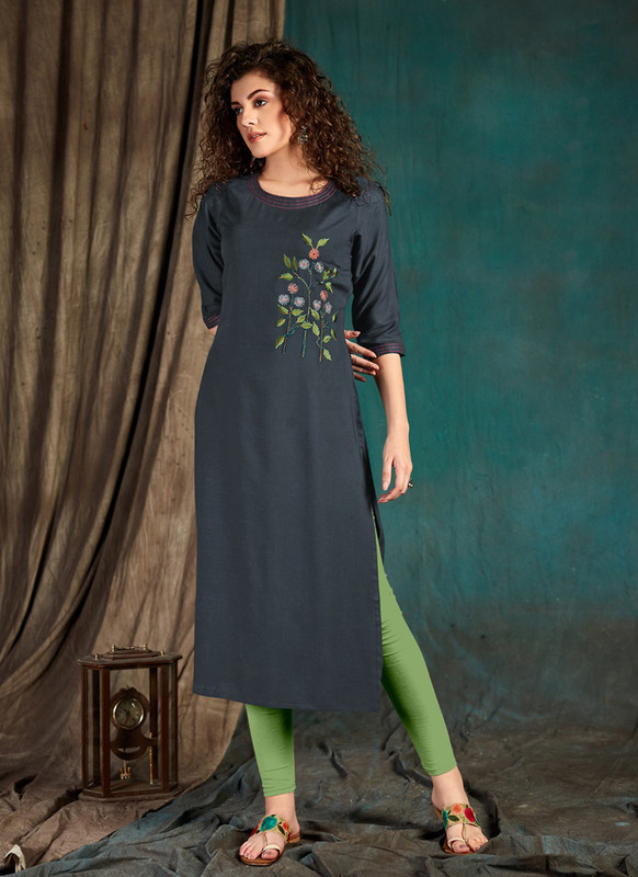 Sareetag Dark grey  Designer Party Wear Readymade Kurti