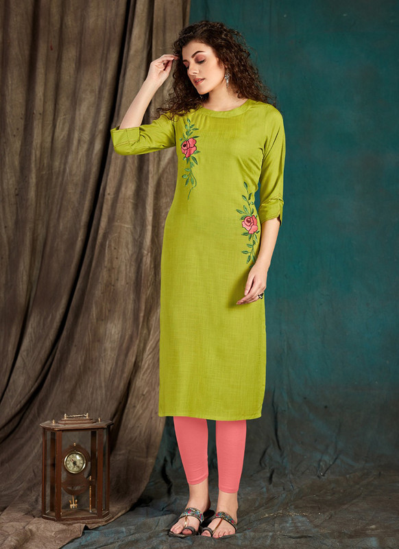 Sareetag Lime green  Designer Party Wear Readymade Kurti