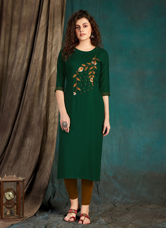 Sareetag Forest green  Designer Party Wear Readymade Kurti