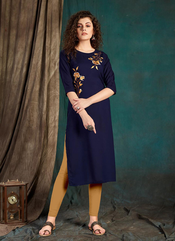 Sareetag Navy Blue  Designer Party Wear Readymade Kurti