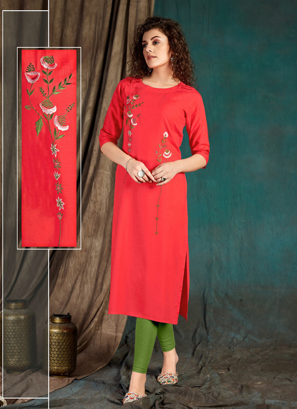 Sareetag Dark Peach  Designer Party Wear Readymade Kurti