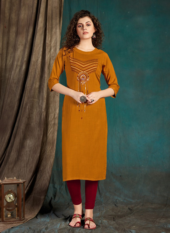 Sareetag Mustard  Designer Party Wear Readymade Kurti