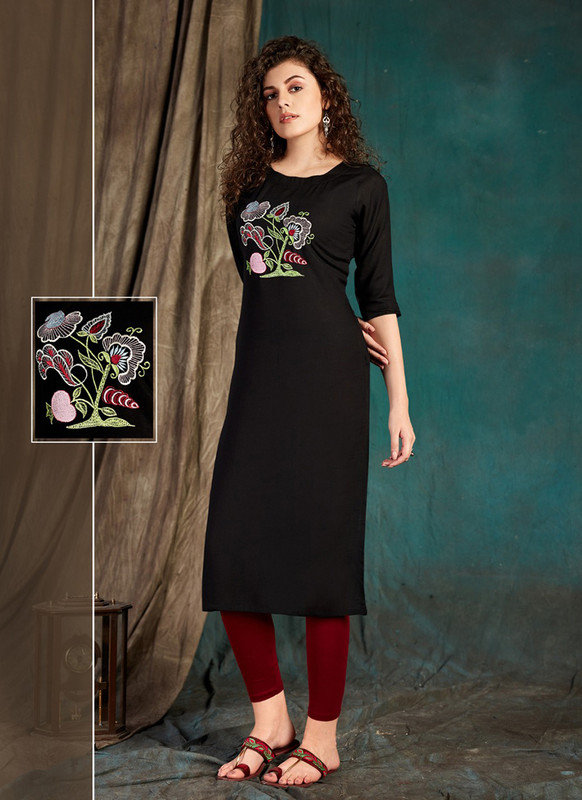 Sareetag Black  Designer Party Wear Readymade Kurti