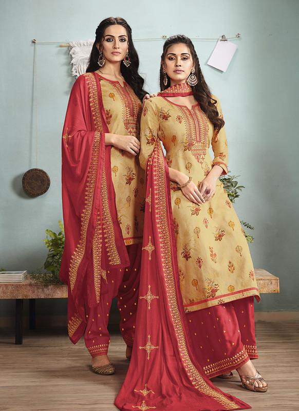 Sareetag Musterd  Designer Embroidred Satin Cotton Patiyala Suit