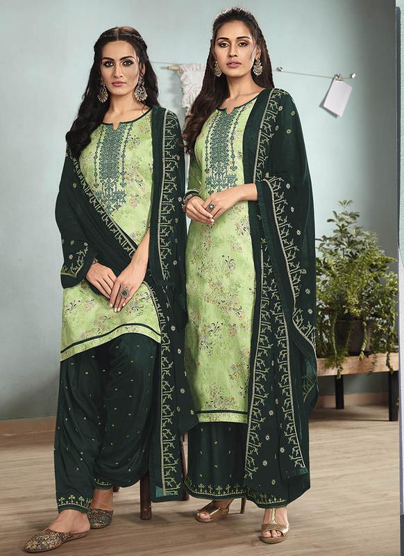Sareetag Green  Designer Embroidred Satin Cotton Patiyala Suit