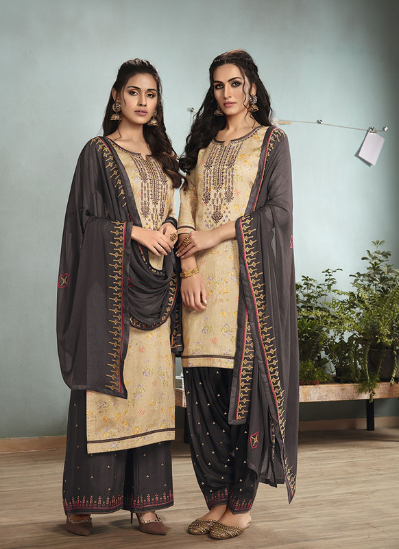 Sareetag Beige  Designer Embroidred Satin Cotton Patiyala Suit