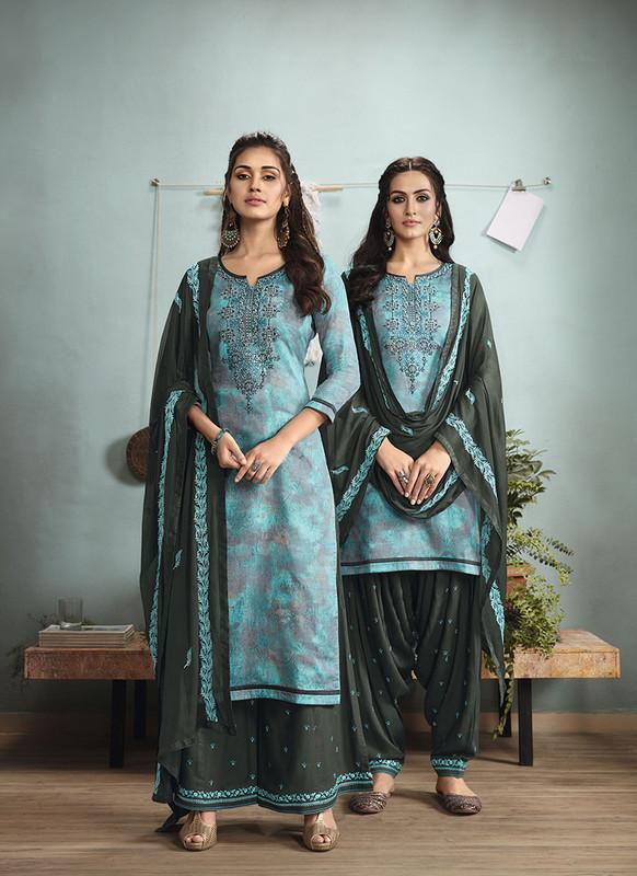 Sareetag Sky Blue  Designer Embroidred Satin Cotton Patiyala Suit