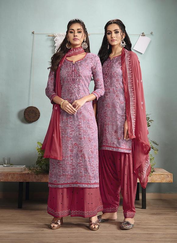 Sareetag Multi  Designer Embroidred Satin Cotton Patiyala Suit