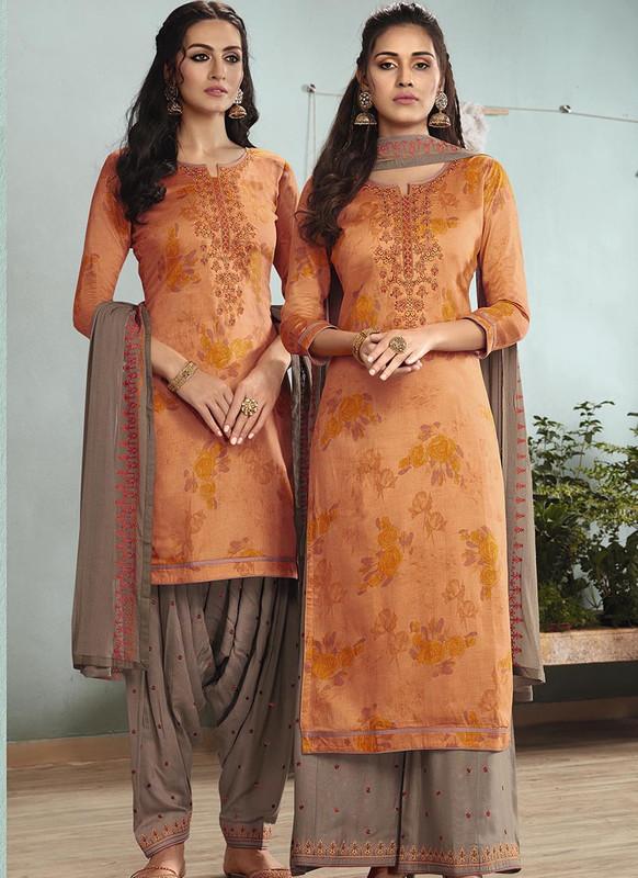 Sareetag Orange  Designer Embroidred Satin Cotton Patiyala Suit