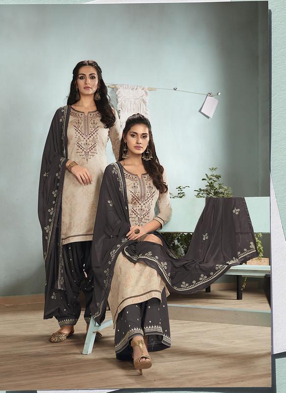 Sareetag Cream  Designer Embroidred Satin Cotton Patiyala Suit
