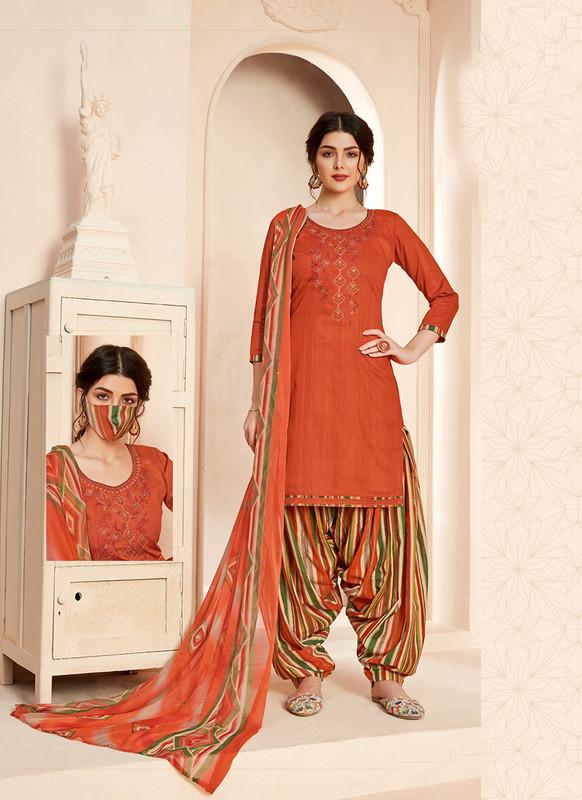 Sareetag Geruaa  Designer Pure Jam Cotton Patiyala Suit