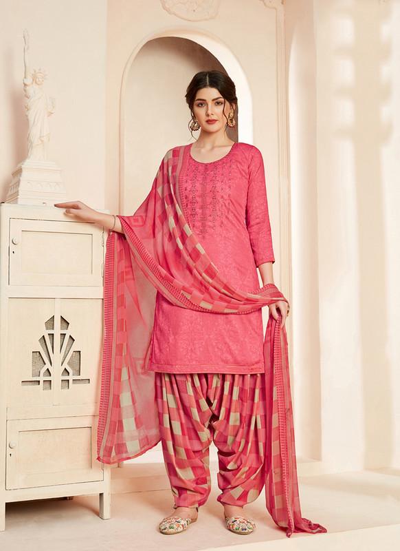 Sareetag Pink  Designer Pure Jam Cotton Patiyala Suit