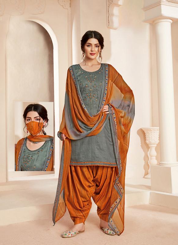 Sareetag Grey  Designer Pure Jam Cotton Patiyala Suit