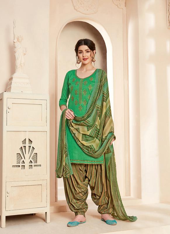 Sareetag Green  Designer Pure Jam Cotton Patiyala Suit