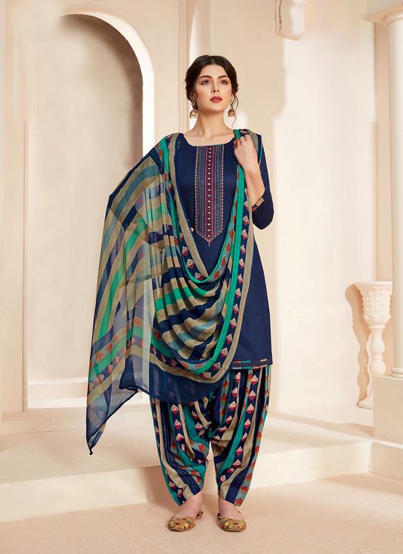 Sareetag Blue  Designer Pure Jam Cotton Patiyala Suit