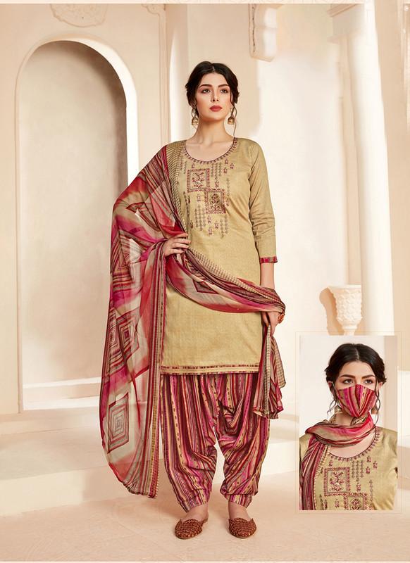 Sareetag Beige  Designer Pure Jam Cotton Patiyala Suit