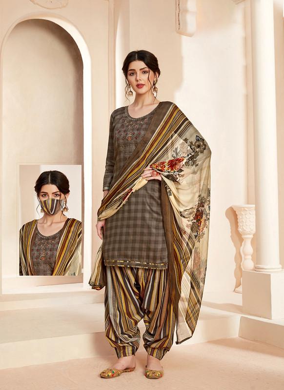 Sareetag Multi  Designer Pure Jam Cotton Patiyala Suit