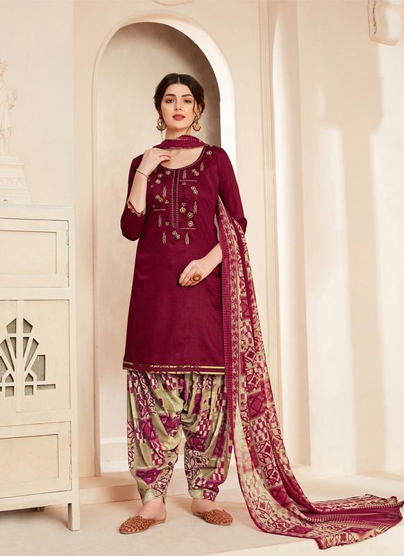 Sareetag Maroon  Designer Pure Jam Cotton Patiyala Suit