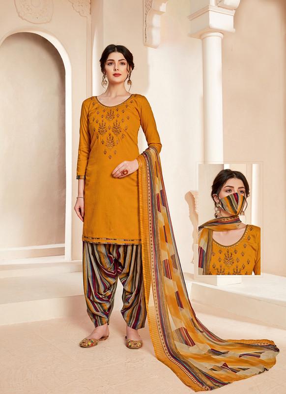 Sareetag Musterd  Designer Pure Jam Cotton Patiyala Suit