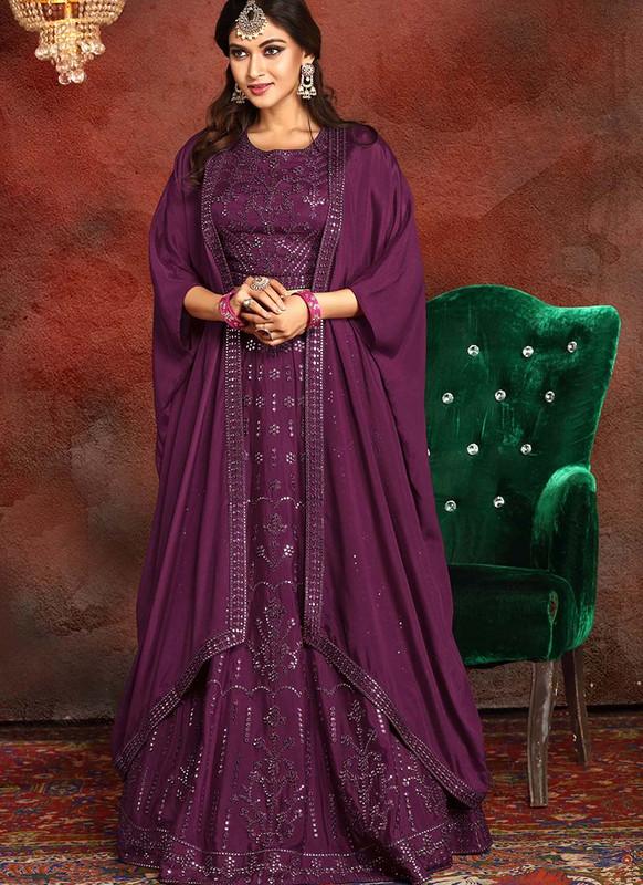 Sareetag Purple  Heavy Designer Traditional Wear Readymade Lehenga