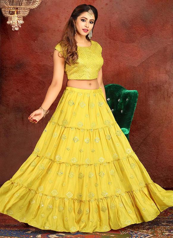 Sareetag Yellow  Heavy Designer Traditional Wear Readymade Lehenga