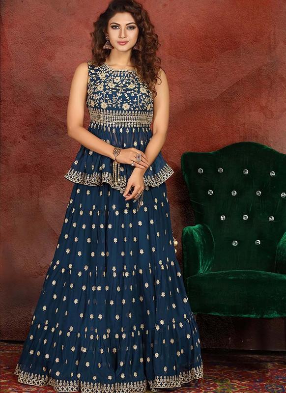 Sareetag Blue  Heavy Designer Traditional Wear Readymade Lehenga