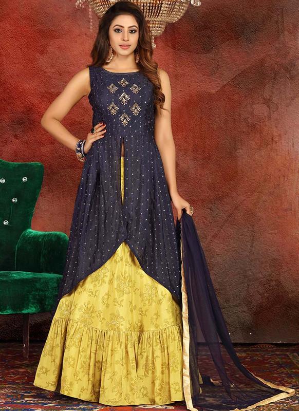 Sareetag Navy Blue  Heavy Designer Traditional Wear Readymade Lehenga