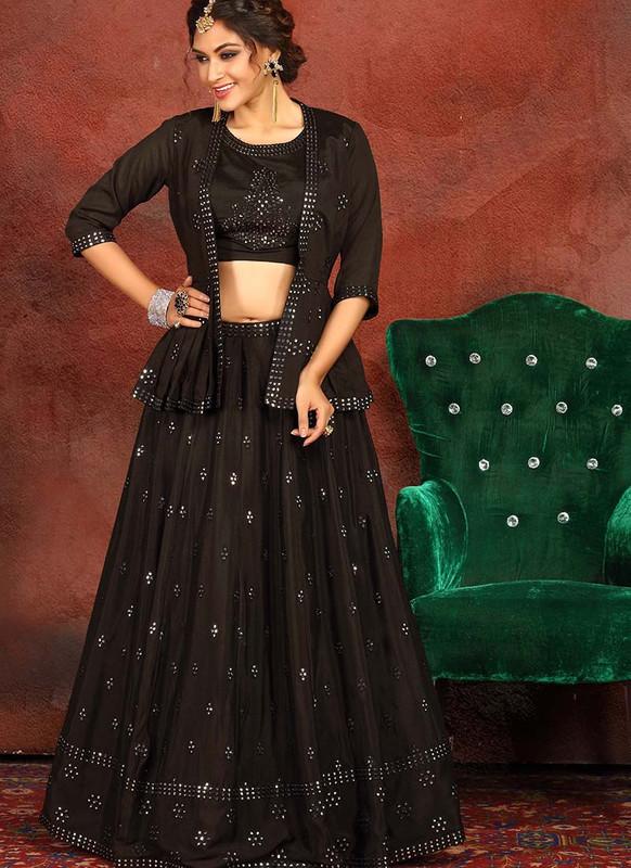 Sareetag Black  Heavy Designer Traditional Wear Readymade Lehenga