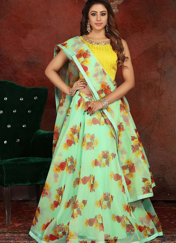 Sareetag Yellow+Pista  Heavy Designer Traditional Wear Readymade Lehenga