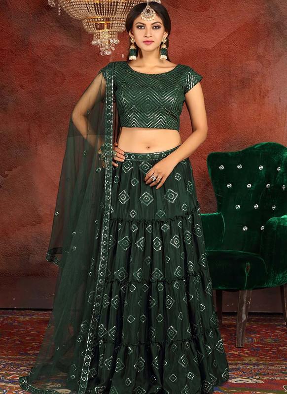 Sareetag Dark Green  Heavy Designer Traditional Wear Readymade Lehenga
