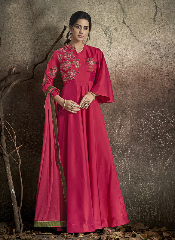 Sareetag Rani Pink  Designer Party Wear Readymade Soft Tapeta Silk Gown