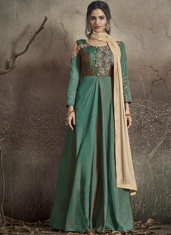 Sareetag Green  Designer Party Wear Readymade Soft Tapeta Silk Gown