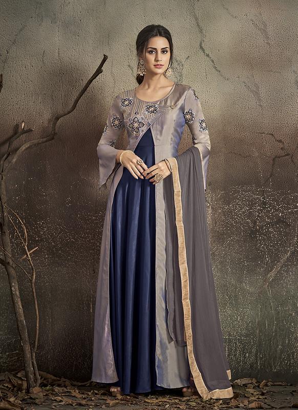Sareetag Grey, Blue  Designer Party Wear Readymade Soft Tapeta Silk Gown