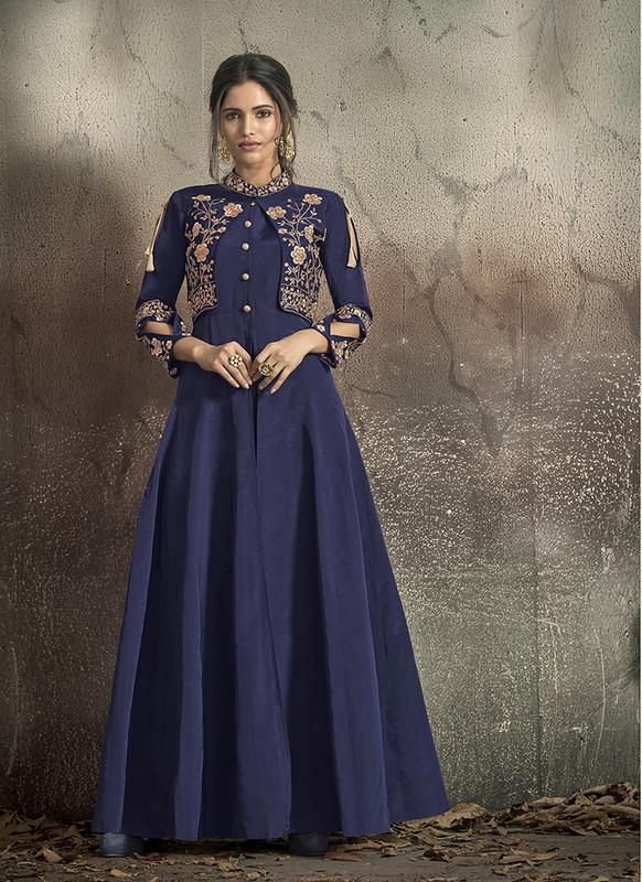 Sareetag Blue  Designer Party Wear Readymade Soft Tapeta Silk Gown